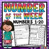 Numbers  1-20 Worksheets: Number of the Week