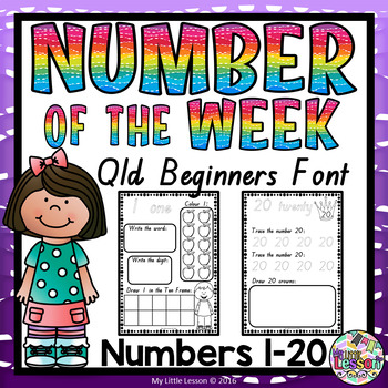 Numbers 1-20 Worksheets: QLD Beginners Font