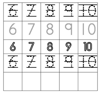 Numbers 1-20 Writing Practice
