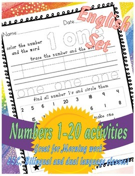 Numbers 1-20 activity set