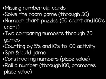 Numbers 1-20 and Beyond { 10 math centers }
