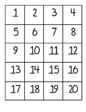 Numbers 1-20 chart/ flash cards