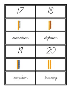Numbers 1-20  digit, quantity and name nomenclature cards in d'nealian cursive