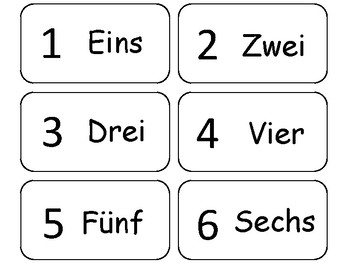 Numbers 1-20 in German Flash Cards. Preschool math and foreign language.