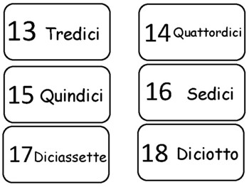 Numbers 1-20 in Italian Flash Cards. Preschool math and foreign language.