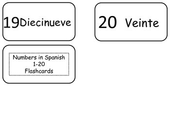 Numbers 1-20 in Spanish Flash Cards. Preschool math and foreign language.
