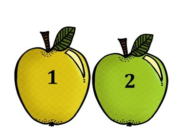 September/October Numbers 1-20 locker tags on apples