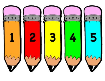 Numbers 1-20 on Writing Pencils
