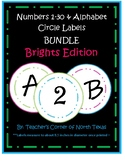 Numbers 1-30 & Alphabet Circle Labels - Brights Edition BUNDLE