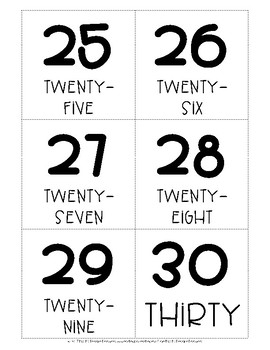 Numbers 1-30 Flash Cards