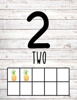 Numbers 1-30 Posters - Pineapple & Shiplap