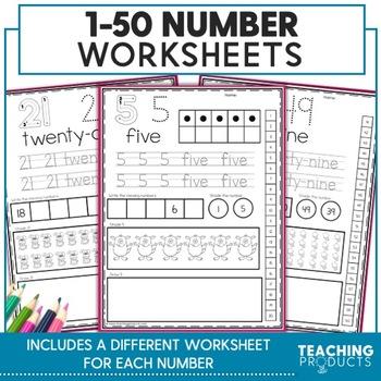 Numbers 1-50 Worksheet Set