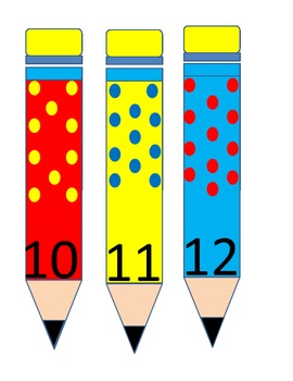 Numbers 1-30 on colorful pencils with matching quantities