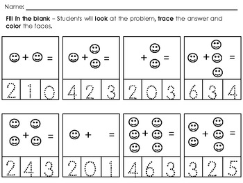 Numbers 1- 31 - Look,Write,Color / Addition 1-10 Look,Trace,Color