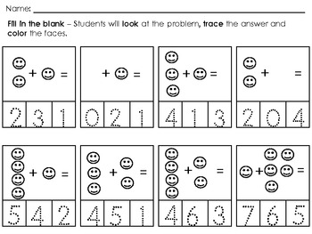 Numbers 1- 31 - Look,Write,Color / Addition 1-10 Look,Trace,Color  K - 1