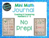 Number Sense Numbers 1 - 5: Counting and Comparing Numbers Mini Math Journal