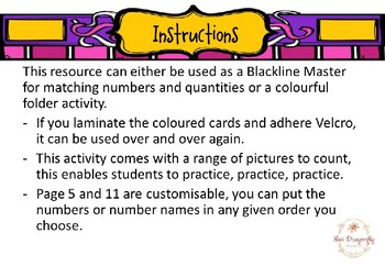 Numbers 1 - 5 Matching Activites