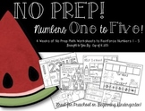 Numbers 1-5 No Prep Math Packet