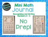 Number Sense Numbers 1 - 5: Recognizing and Writing Numbers Mini Math Journal