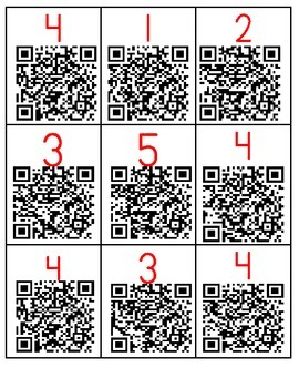Numbers 1-5 with QR codes