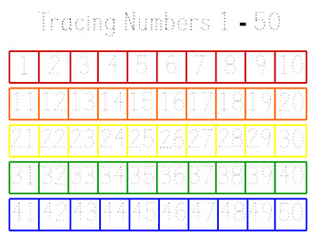 Numbers 1-50 Counting and Tracing