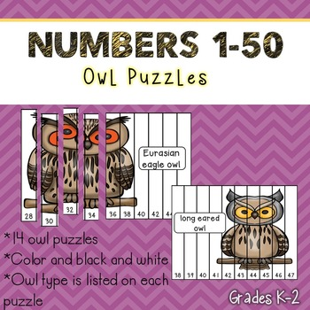 Numbers 1-50 Puzzles (Owls)