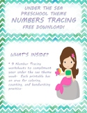 Numbers 1-9 Tracing Pages - Under the Sea - Preschool/Kind