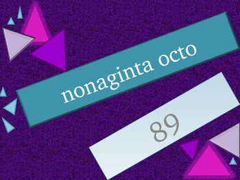 Numeros (Numbers in Latin) 1 to 99 review game
