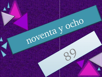 Números (Numbers in Spanish) 1 to 99 review game