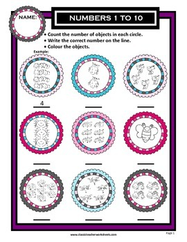 Numbers 1 to 10 - Count Number of Objects - Kindergarten-Grade 1 (1st Grade)