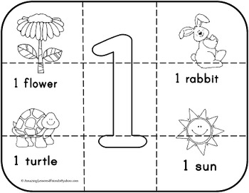 Numbers 1 to 10 Counting Puzzles and Coloring Sheets