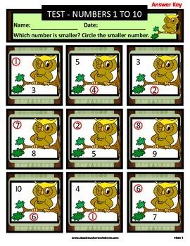 Numbers 1 to 10-Choose Which Number Is Smaller-Kindergarten-Grade 1 (1st Grade)