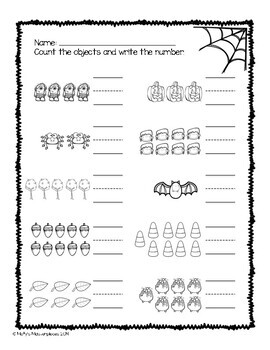 Numbers 1 to 10 Fall Worksheets