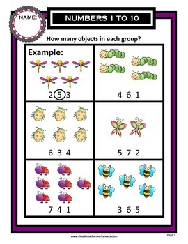 Numbers 1 to 10-How Many Objects in Each Group? Kindergarten Grade 1/1st Grade