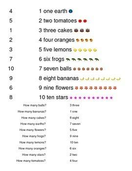 Numbers 1 to 10 Kindergarten Sight Words Match Math