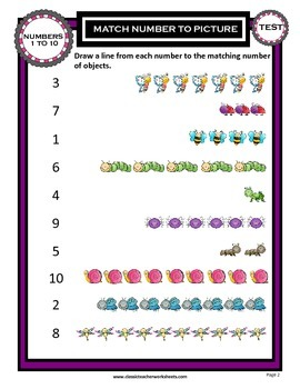Numbers 1 to 10-Match the Numbers to the Pictures-Kindergarten Grade 1/1st Grade