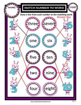 Numbers 1 to 10-Match Numbers to Number Names-Kindergarten Grade 1 (1st Grade)