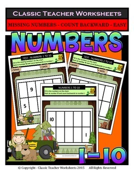 Numbers 1 to 10-Missing Numbers-Count Backward-Kindergarten-Gr. 1 (1st Gr.)-Easy