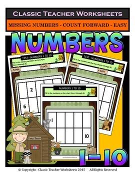 Numbers 1 to 10-Missing Numbers-Count Forward- Kindergarte