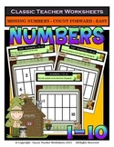 Numbers 1 to 10-Missing Numbers-Count Forward- Kindergarten-Gr. 1 (1st Gr.)-Easy