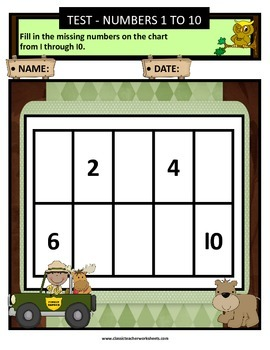 Numbers 1 to 10-Missing Numbers-Count Forward- Kindergarten-Gr. 1 (1st Gr.)-Easy