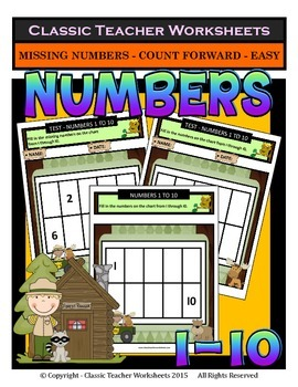 Numbers 1 to 10-Missing Numbers-Count Forward- Kindergarte