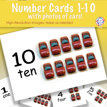 Counting 1 to 10: Number Cards with Car Photos