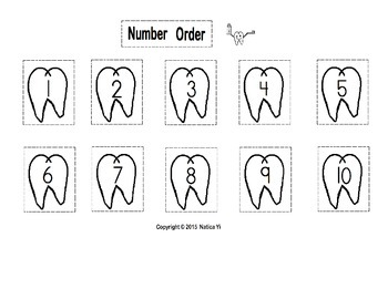 Numbers 1 to 10 Number Order Teeth Cut and Paste