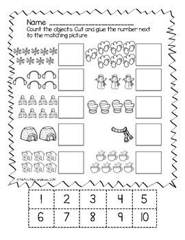 Numbers 1 to 10 Winter Worksheets