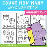 Numbers 1 to 10 Worksheets Count How Many