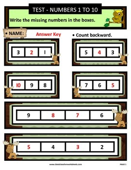 Numbers 1 to 10-Write Missing Numbers-Count Backward-Kindergarten Gr. 1/1st Gr.