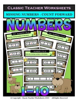 Numbers 1 to 10-Write Missing Numbers-Count Forward-Kinder