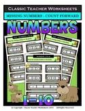 Numbers 1 to 10-Write Missing Numbers-Count Forward-Kindergarten Gr. 1/1st Gr.