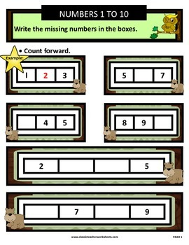 Numbers 1 to 10-Write Missing Numbers-Count Forward-Kindergarten Gr. 1/1st Gr.